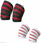 Weight Lifting Power Lifting Knee Wraps Supports Gym Training Straps Brand New