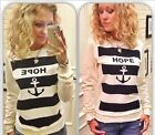 HOT Ladies Anchor Stripe Pullover Jumper Casual Thick Sweater Hoodie Tracksuits
