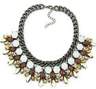 New Arrival Bling Colored Crystal Gemstone Flower Pendant Bib Necklace Oranment