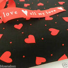 per 1/2 metre/FQ black with red hearts dressmaking/craft fabric 100% COTTON