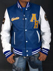 Aviatrix College Baseball Genuine Leather Varsity Jacket Streetwear Blue White