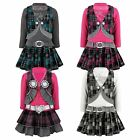 GIRLS BELTED TARTAN SKIRT DRESS DIAMANTE TOP & WAISTCOAT  2 PIECE SET SIZE 3-12Y