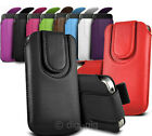 COLOUR (PU) LEATHER MAGNETIC BUTTON PULL TAB POUCH FOR POPULAR MOBILE PHONES