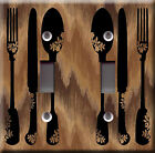 Light Switch Plate Cover - Ustensils design back brown - Cook fork knife spoon