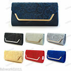 Oversized NAVY CHAMPAGNE BLACK RED IVORY  ROYAL Satin Floral Lace Clutch Bag 718