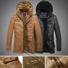 Cool Men's warm hooded leather motorcycle coats jackets Luxury PU leather coat