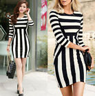 Fashion Womens Striped Party Bodycon Slim Evening Cocktail Mini Dress Clubwear