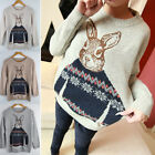 NEW Women Knitted Animal Rabbit Print Loose Pullover Sweater Outwear Tops B