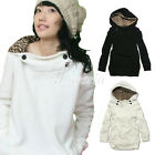 HOT Autumn Women Hooded Outerwear Cotton Blends Leopard Cap Casual Coat Jacket