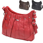 Womens / Ladies Pleated Genuine Leather Bag with Stud Detailing