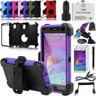 EEEKit 10in1 Accessory for Samsung Galaxy Note 4 Hybrid Case+Car Mount+Charger
