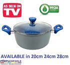 NEW BLUE STONE MARBLE COATED CASSEROLE POT Cookware Non Stick Pan Induction