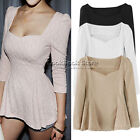 Women Sexy Crop Sleeved Heart Neck Fit-and-flare Textured T-Shirt T Shirt Tee