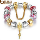 Luxury European Silver Bracelet With DIY Charms Murano Glass for Women Birthday