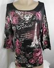 Essentials Womens Plus Size Shirt Top Black Paris Blouse Size 0X 1X 2X 3X 4X New