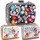 Ladies Designer Multi Coloured Gem Diamante Box Clutch Bag Lips Evening Bag M528