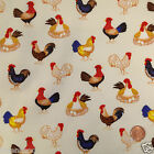 "per 1/2 metre/fat quarter 100 % cotton cream chickens fabric 44"" wide"