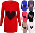Womens Heart Print Ladies Stretch Long Sleeve Knitted Fluffy Jumper Sweater Top