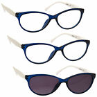 2 x Reading Glasses 1 x Sun Readers 3 Pack Womens Cats Eye Blue UVRSR3PK025