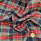"Stewart Black Brushed 100 % cotton tartan fabric per fq /half metre/ Mt 58 ""wide"