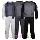 Mens Shell Round Neck Fleece Lined Tracksuit Long Sleeve Top Bottoms Pants