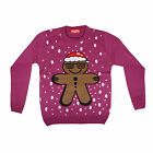 Adults Unisex Purple Knitted Novelty Fun Christmas Cool Ginger Bread Man Jumper
