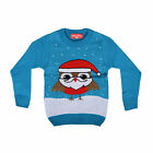 Childrens Dark Blue Novelty Fun Knitted Christmas Santa Robin Xmas Jumper New