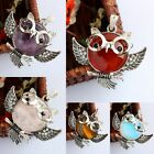 New Opal Amethyst Healing Chakra Gemstone Stone Owl Bead Pendant Fit Necklace