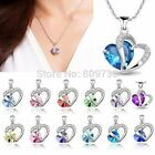 Silver Plated Chain Crystal Heart Pendant Necklace for Valentine's Day= Gift Box