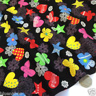 "per 1/2 metre/fat quarter 100 % cotton poplin CANDY - black fabric 44"" wide"