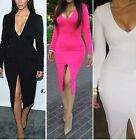 Hot Sexy Womens Deep V Long Sleeve Cocktai Evening Party Slim Bodycon Dress - LA