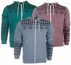 D Code Aztec print Fred Zip Hoodie. hooded Top in Plum Green Or Blue **BNWT**