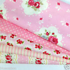 Pink floral 5 fat quarter or 5 metre bundle 100 % cotton fabric