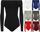 New Plus Size Womens Off Shoulder Long Sleeve Leotard Ladies Top Bodysuit 16-22