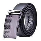 Men's Full Grain Cowhide Business Automatic Buckle Leather Waist Belt Black NEW