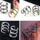 Pair 16G Stainless Steel Fake Cartilage Clip Ball Ear Cuff Earrings Wrap Punk US