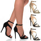 WOMENS LADIES HIGH HEEL STILETTO PLATFORM ANKLE STRAP PARTY SANDALS SHOES SIZE