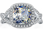 925 Sterling Silver Ladies Luxury Halo Wedding Engagement Bridal Band Ring