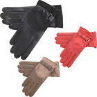 Womens / Ladies Genuine Leather & Suede Gloves / Black, Red, Taupe