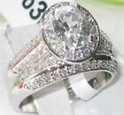 Size 5 10 J T | Halo Engagement Ring WEDDING Band SET | Stainless Steel L1W163SE