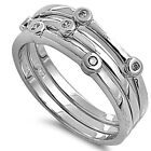 925 Sterling Silver Round Clear CZ 3 in 1 Stackable Puzzle Band Ring Size 3-11
