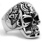 Stainless Steel Siren Tribal Tattoo Biker Good Luck Skull Men's Ring Size 9-14