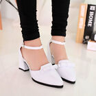 New Cute Womens Punk Bowtie Block Heel Pointy Toe Ankle Strap Pumps Shoes Oxford