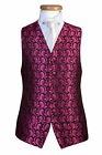 MENS BLACK PINK PAISLEY SWIRL WEDDING DRESS PARTY PROM CRUISE WAISTCOAT