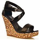 NEW Ladies Black Rose High Wedge Ankle Strap Animal Snake Shoes Sandals Size