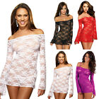 Sexy Lady Lingerie Long Sleev Lace Underwear Dress Nightwear G-String Sleepwear