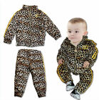 Kids Boy & Girl Leopard Tracksuit Set, Cool Hip Hop Design Jacket & Pants 3 4 5Y