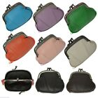 Women's Leather Metal Frame Double Clasp Zipper Coin Change Purse Ladies image