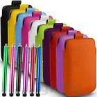 COLOUR (PU) LEATHER PULL TAB POUCH & LONG STYLUS PEN FOR POPULAR MOBILE PHONES