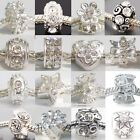 Silver Plated Clear Rhinestone Spacer Charms Beads for Charm Bracelets
